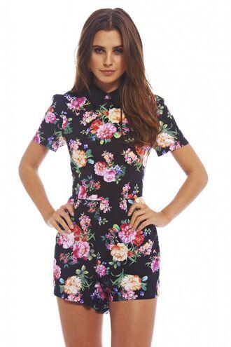 romper retro vintage hipster floral spring peter pan collar dress
