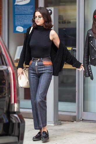 top fall outfits jeans denim selena gomez bodysuit cardigan streetstyle sunglasses round sunglasses