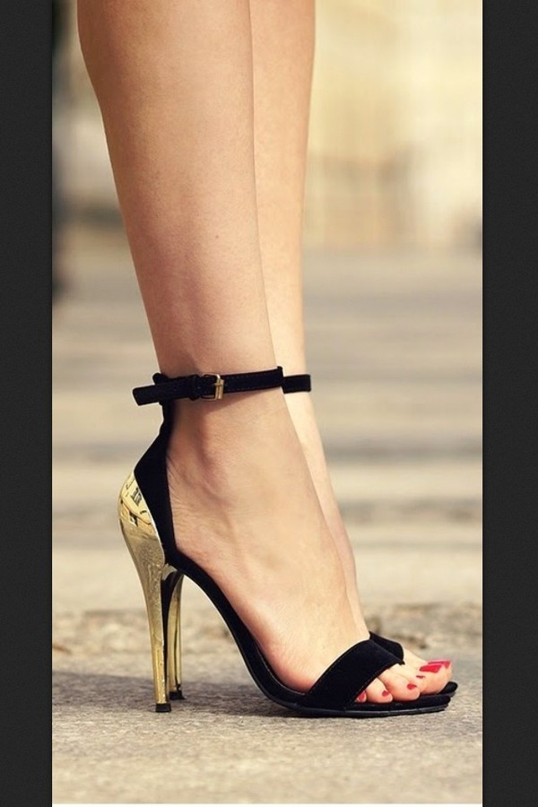 shoes invoguewetrust black with gold heel high heels high heel sandals black heels gold black and gold