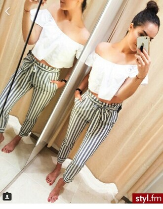 pants ribbed blue and white striped pants white crop tops summer off the shoulder