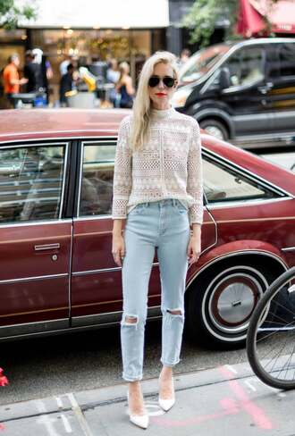 yael steren blogger make-up top jeans shoes jewels sunglasses nail polish lace top long sleeves mesh top mesh skinny jeans ripped jeans aviator sunglasses white heels date outfit eyelet top
