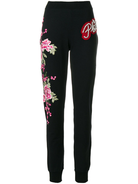 Philipp Plein - flower patch sweatpants - women - Cotton/Polyester/Spandex/Elastane/glass - L, Black, Cotton/Polyester/Spandex/Elastane/glass