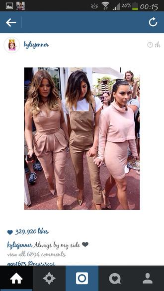 pants jumpsuit dungarees kylie jenner beige romper khloe kardashian style overalls fashion dusty pink