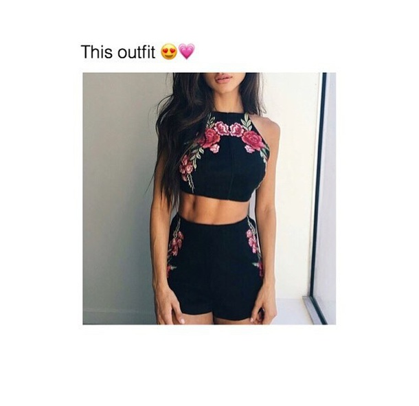 78a5f6900514 shorts, 2 piece skirt set, roses, flowers, floral skirt, floral top ...