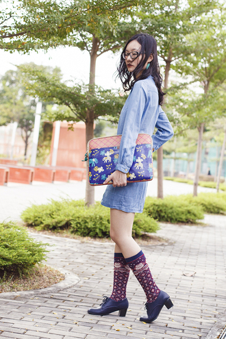pupuren blogger socks denim dress pouch