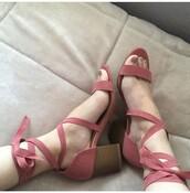 shoes,low heels,chunky heels,mid heel sandals,pink
