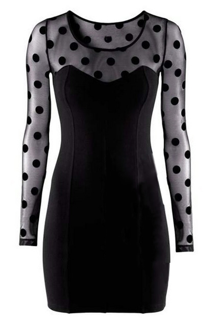 Panel Mesh Polka-dot Print Black Dress | Pariscoming