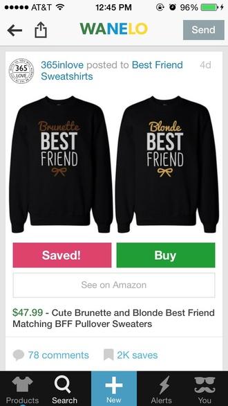 sweater bff shirts bff couple sweaters black bbf shirt