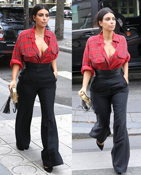 bag clutch kim kardashian fashion week 2014 streetstyle fall outfits flannel shirt