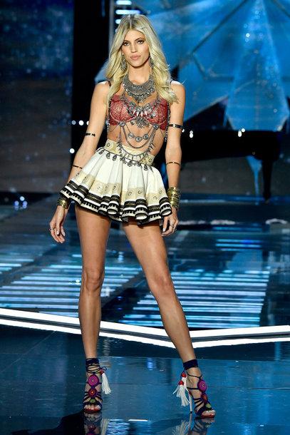 skirt Devon Windsor runway bra mini skirt model victoria's secret victoria's secret model necklace