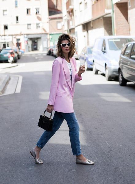 ms treinta blogger jacket shirt jeans bag sunglasses blazer pink jacket loafers