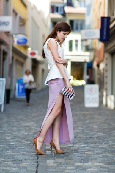 maxi skirt skirt slit skirt fashion blogger pink maxi skirt summer skirt ruched draped