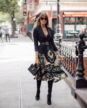 skirt,midi skirt,multicolor,blazer