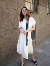 dress,white dress,slide shoes,black slides,scarf,sunglasses