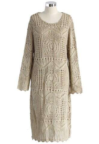 beige dress chicwish open-gauge knit