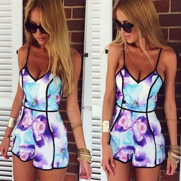 Sexy flower print sling playsuits by feclothing