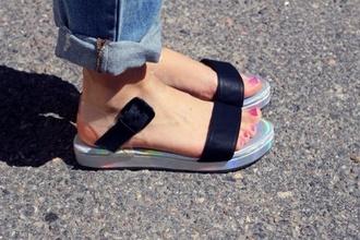 shoes flat sandals straps clear strap black strap silver sole hologram sole