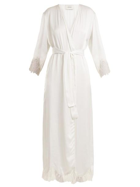Icons kimono lace silk satin white top