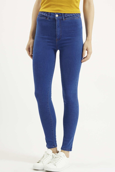 Blue Woven Design High Waist Stretchy Jeans
