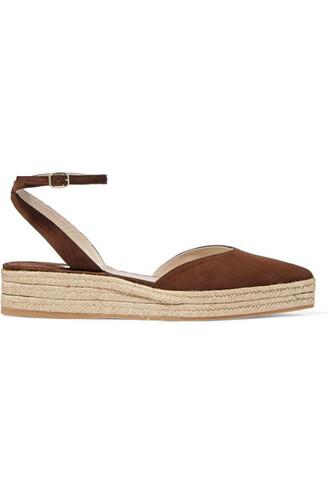 dark espadrilles suede brown shoes
