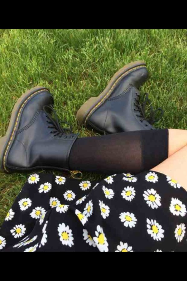 shoes black floral combat boots socks skirt