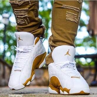 shoes white gold jordans
