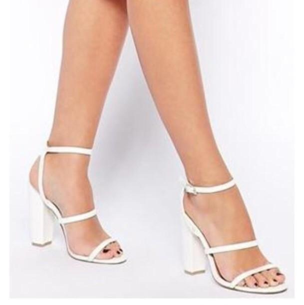 shoes, white block heels, high heel