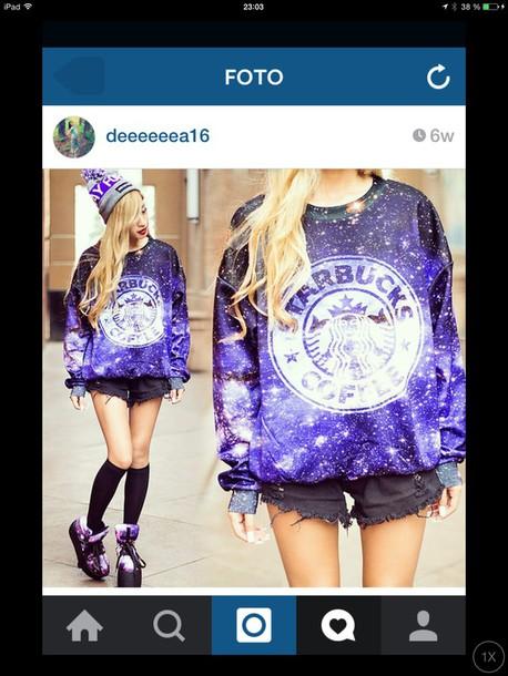 sweater purple glitter sweater starbucks