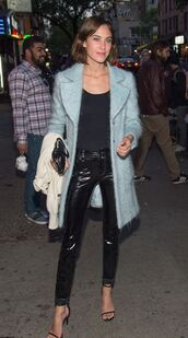 pants,top,alexa chung,coat,spring outfits,sandals,blue coat,black top,leather pants,sandal heels
