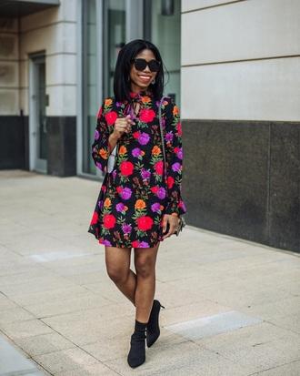 dress floral floral dress mini dress long sleeve dress sunglasses boots black boots