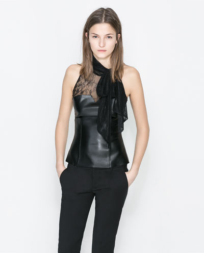 Faux leather lace top with bow