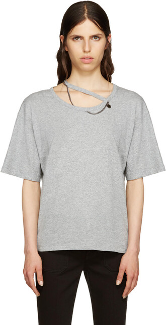 t-shirt shirt cut-out grey top