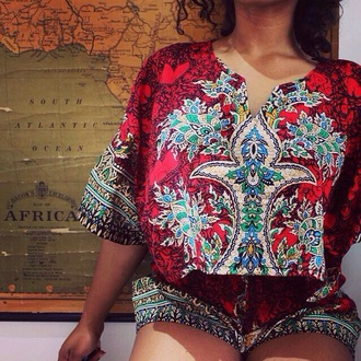 blouse african print top boho hippie tribal pattern tshirt design t-shirt jumpsuit red two-piece shorts pattern dashiki crop 2 piece shirt romper