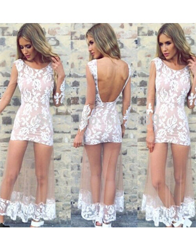 Lace floral flower transparent mesh long maxi white dress
