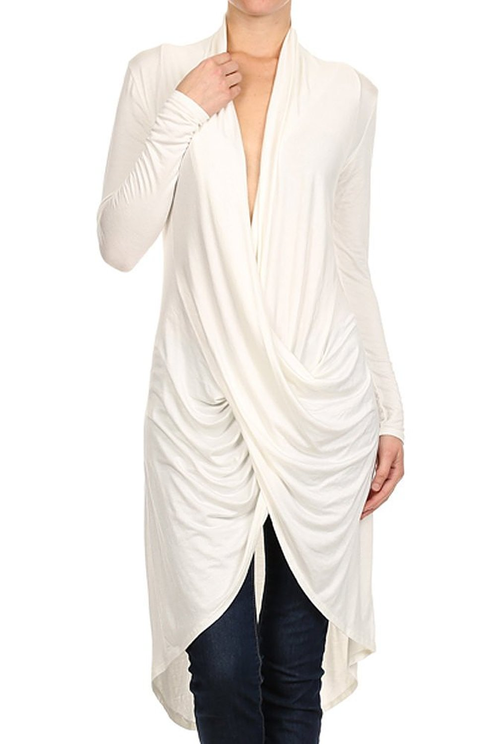 uk availability super cheap look for Modern Kiwi Long Solid Wrapped High Low Tunic Top at Amazon ...