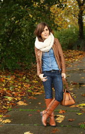 dress corilynn,blogger,jacket,jeans,top,scarf,bag,knitted scarf,leather jacket,camel,brown leather boots,denim shirt