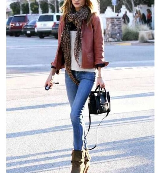 jacket red jacket indie leather jacket skinny jeans brown boots white shirt leopatd print scarf black handbag boho chic hipster