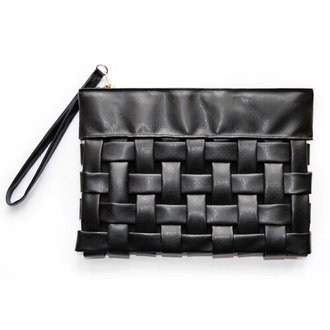 bag clutch hand bag black leather cross over