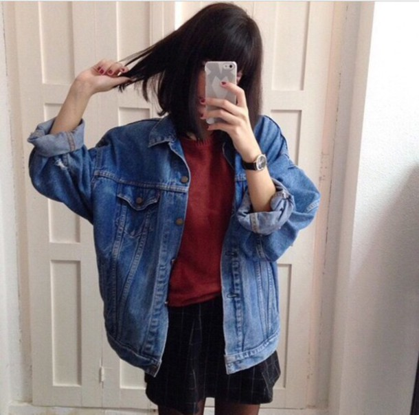 Jacket: denim, style, cute, denim jacket, oversized jacket, jeans ...