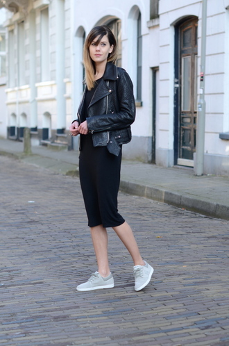 lovely by lucy blogger perfecto leather jacket black dress