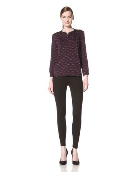 blouse top pattern purple circles cynthia rowley gwen stacy spider-man emma stone purple shirt purple blouse patterned blouse