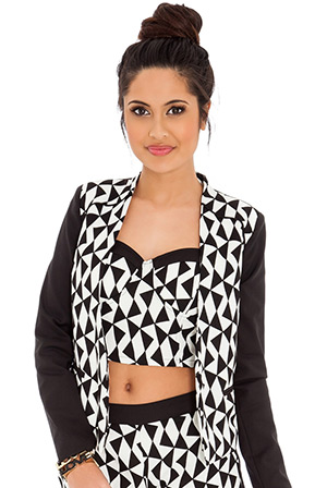 Printed Box Shape Cropped Blazer