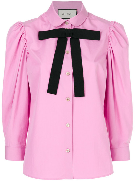 gucci blouse bow women cotton purple pink top