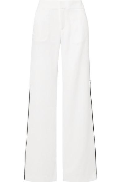 La Ligne - Riviera grosgrain-trimmed crepe wide-leg pants