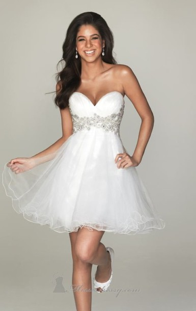 Dress prom prom dress homecoming white dress formal for Cute short white wedding dresses