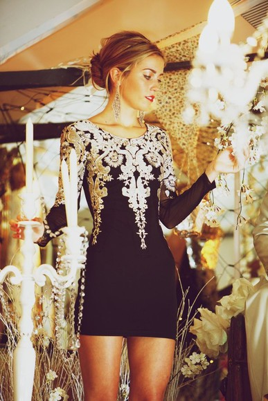 dress black long sleeved dress silver little black dress short black dress embroidered party long sleeve dress long sleeve gold nice shorts pattern mesh sleeves bodycon detailed zipper back gold details black,cream,lace,dress black and gold mini dress bodycon dresses black and gold dress