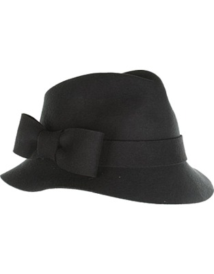 ASOS Fashion Finder | Womens Black Bow Felt Trilby Hat