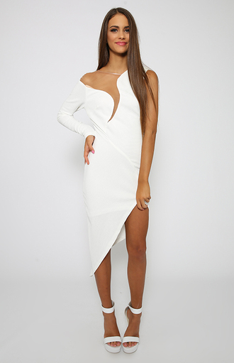 dress white party one sleeve formal peppermayo asymmetrical dress bodycon dress