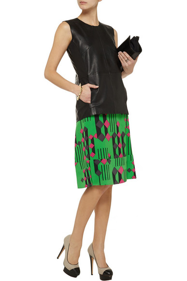 skirt tank top marni green printed silk skirt leather top iris & ink