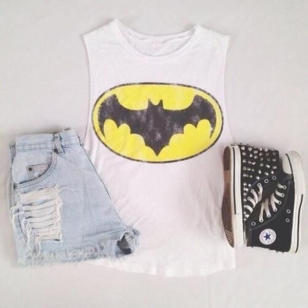tank top allstars shorts batman cute shoes